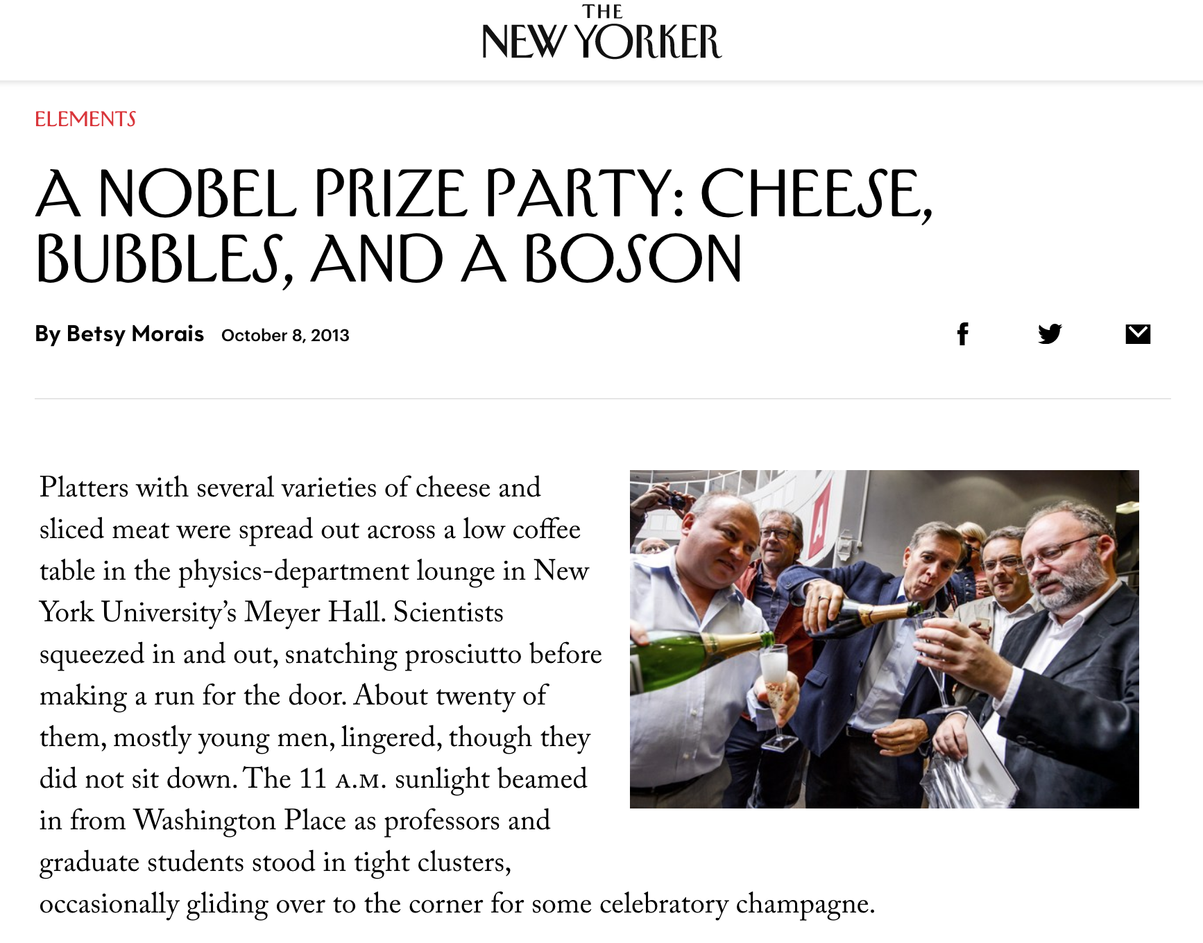 New Yorker article about the party at the NYU Physics Department